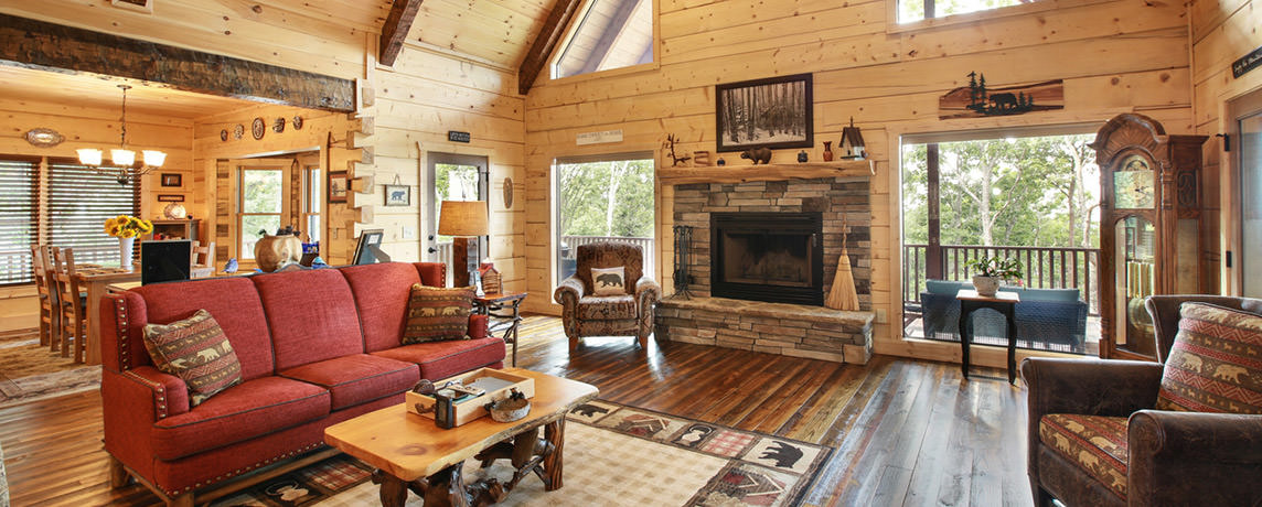 Misty Ridge log home cabin floor plan family room,